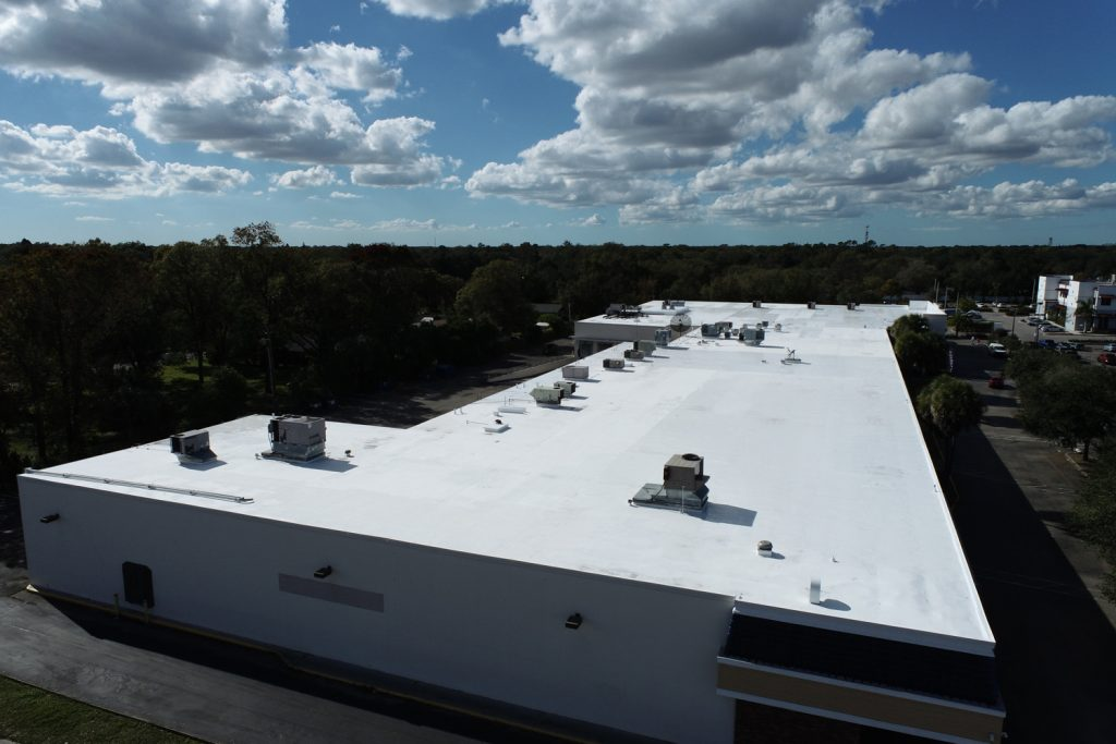 Silicone Roof Restoration North Pointe Shopping Plaza Tampa, FL